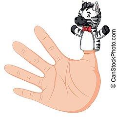 hand wearing a zebra finger puppet on thumb