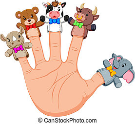 Hand wearing cute 5 finger puppets