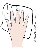 hand - illustration of hand with washcloth