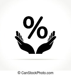 hands and percentage sign concept