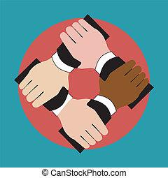 Illustration of hands holding each