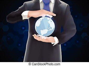Hands holding earth of background o