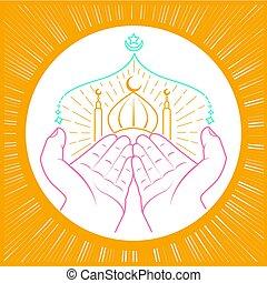Illustration of hands praying namaz (Muslim's Prayer)...