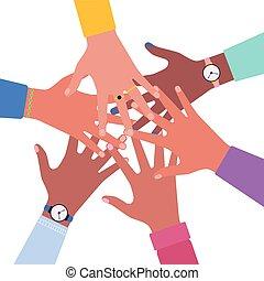 hands together.