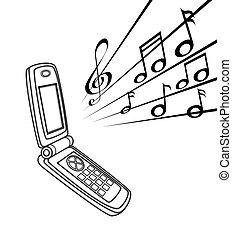 handset  - illustration   of  handset  with  some  note