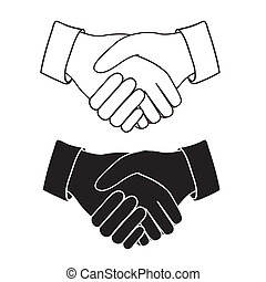Illustration of handshake isolated on white background, vector illustration