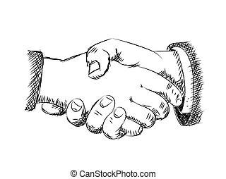 Illustration of handshaking -Vector sketch