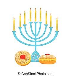 Hanukkah menora - illustration of hanukkah, jewish holiday....