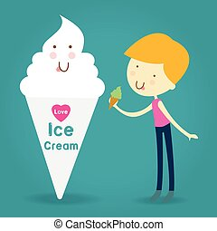 Illustration of Happy and Excited Kids Carrying Cones Filled with Ice Cream