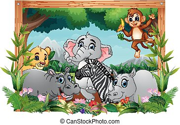 Illustration of happy animals in square frame