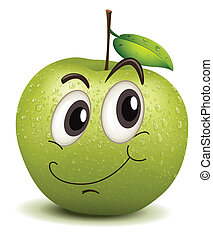happy apple smiley - illustration of happy apple smiley on a...