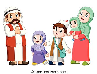 Happy arab family couple with children