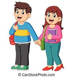 Happy boy and girl go to school