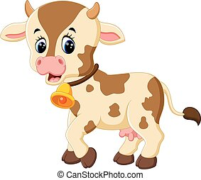 Happy cartoon cow - illustration of Happy cartoon cow