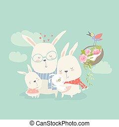 illustration of happy cartoon rabbits family with new born