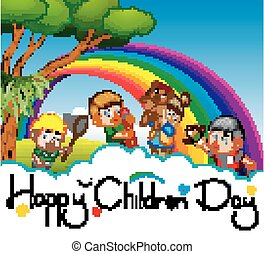 Happy children day poster with happy kids playing in the garden