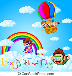 Happy Children's day poster with happy kids on the sky