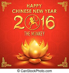 Happy Chinese New Monkey Year 2016 - illustration of Happy...