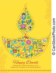 Happy Diwali background with India related things in diya shape