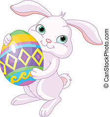 Easter bunny - Illustration of happy Easter bunny carrying...