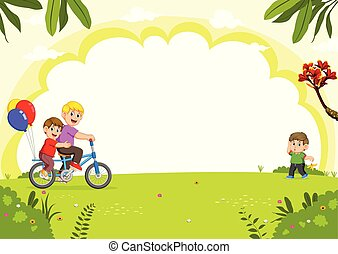 Happy family cycling in the city park
