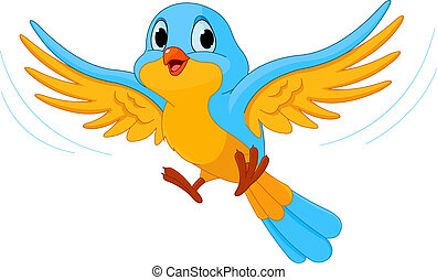 Flying bird - Illustration of happy Flying bird