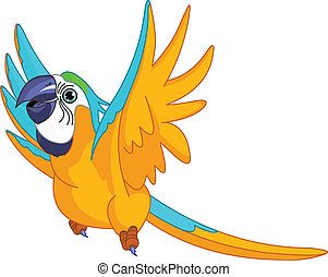 Flying Parrot - Illustration of happy Flying Parrot
