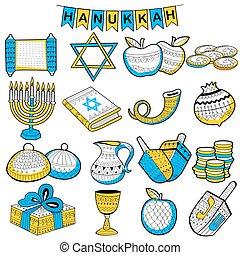 Happy Hanukkah, Jewish holiday background - illustration of...