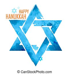 Happy Hanukkah, Jewish holiday background with hanging star of David