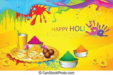 Holi wallpaper - illustration of happy Holi wallpaper with...