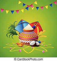 Happy Makar Sankranti greeting card - illustration of Happy ...