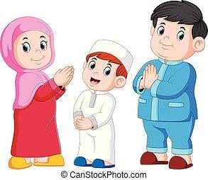 Happy moslem family