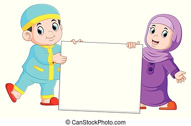 Happy moslem kid holding blank sign