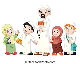 Happy moslem kid showing with holding holy quran