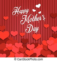 Happy Mother's Day with red hearts