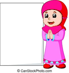 Happy muslim girl cartoon holding blank sign