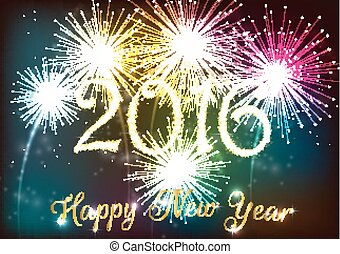 Happy new year 2016 with colourful