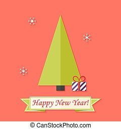 Happy New Year Card with Green Christmas Tree over Red