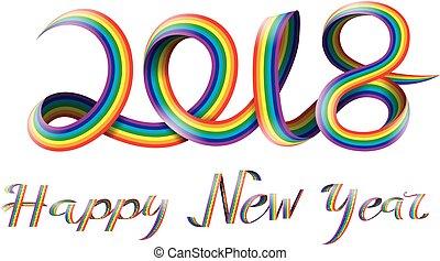 Happy New Year on rainbow