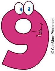 Illustration Of Happy Number Nine Cartoon Mascot Character