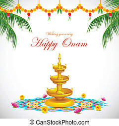 Happy Onam - illustration of Happy Onam decoration with diya...