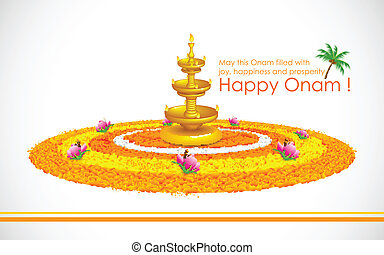 Happy Onam - illustration of Happy Onam decoration with diya...