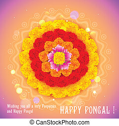 Happy Pongal - illustration of Happy Pongal greeting ...