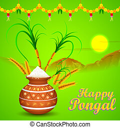 Happy Pongal - illustration of Happy Pongal greeting ...