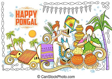 Happy Pongal greeting background - illustration of Happy ...