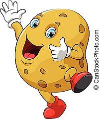 Happy potato cartoon character