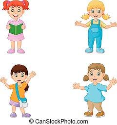 Happy school children cartoon