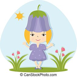 Illustration of happy small girl in flower hat. Vector