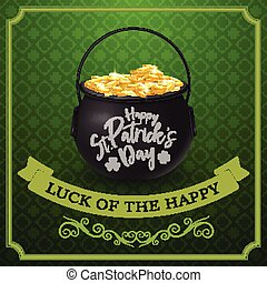 Happy St. Patrick's day with golden coins