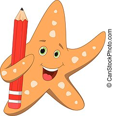 happy starfish holding red pencil